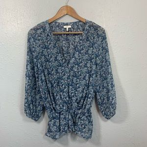 Joie Floral Silk Faux Wrap Peplum Top Size Small